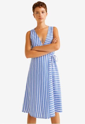Mango blue Striped Cotton Dress 720E6AA439B2ACGS_1