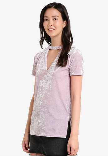 Miss Selfridge pink Pink Velvet Choker Longline Tee MI665AA30JXPMY_1
