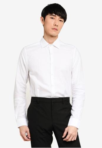 LC Waikiki white Slim Fit Long Sleeve Twill Shirt AEF41AA69DDD38GS_1