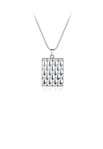 Glamorousky silver Fashionable Simple Pineapple Striped Geometric Pendant with Necklace 8AFCFACC8C4FD0GS_1