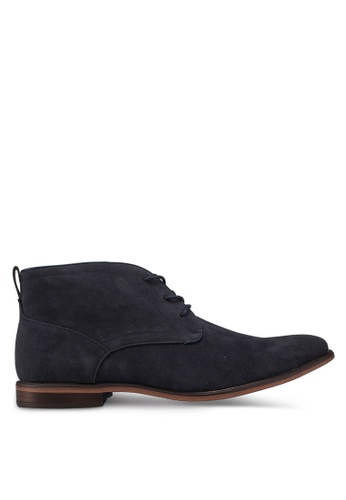 Burton Menswear London navy Navy Leather Look Desert Boots AE2F5SH00FC7D9GS_1