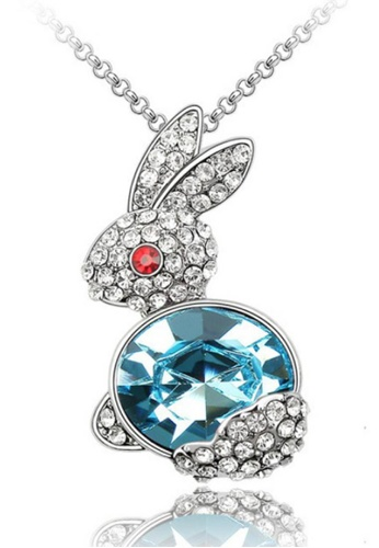 LOVENGIFTS blue Glitter Bunny Pendant Necklace 0C463ACB1F9808GS_1