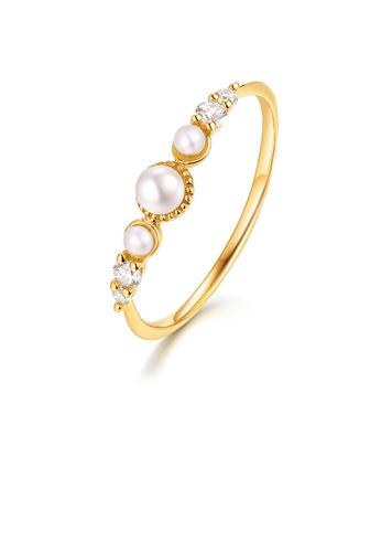 SUNSET 金色 Premium 14K Gold Pearl Ring 37FAAAC747689CGS_1