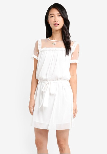 ZALORA white Ruffled Sheer Dress CBD12AACAFC3C1GS_1