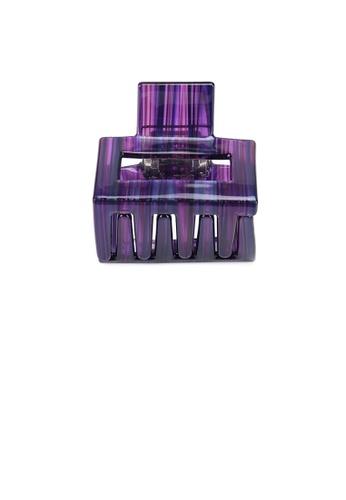 Glamorousky silver Simple Fashion Purple Striped Geometric Small Hair Claw 03C87AC52995C7GS_1