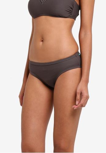 Piha brown Textured Solid Bound Bikini Bottom PI734US0RU2HMY_1