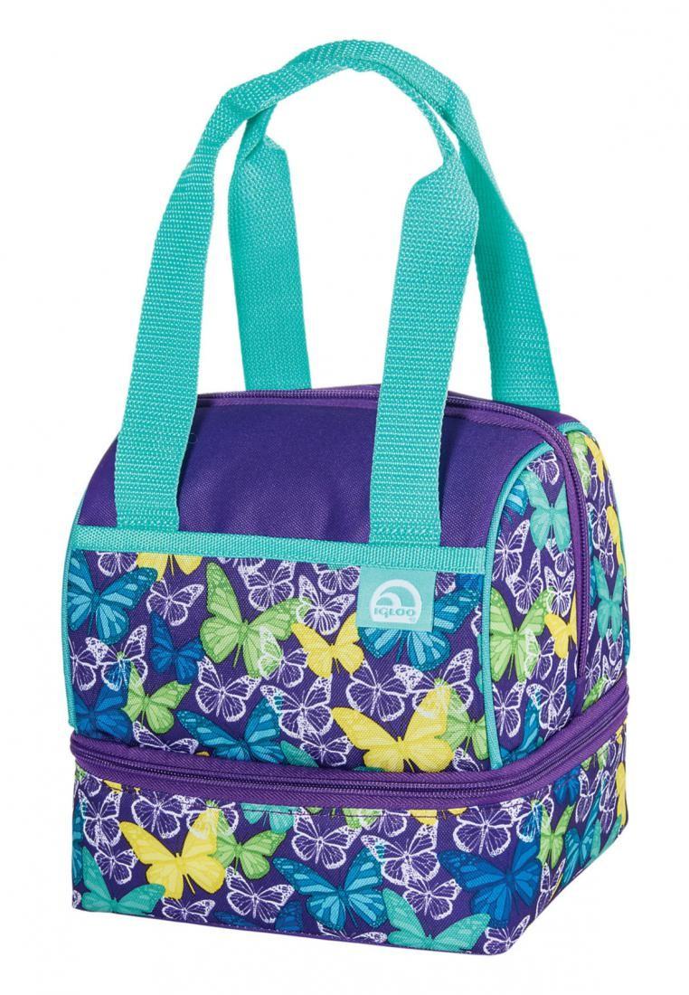 Childrens Butterflies Dual Compartment Lunch Bag Lavender