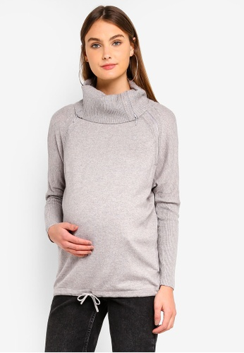 Seraphine grey Eda Maternity Roll Neck Nursing Sweater 051AFAA951F0A5GS_1
