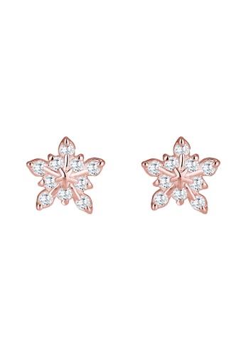 ELLI GERMANY gold Elli Germany Earring Snowflake Winter Zirconia 925 Silver Rose Gold Plated EL474AC0SEVAMY_1