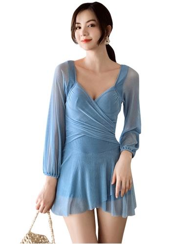 A-IN GIRLS blue Sexy Gauze Big Backless One-Piece Swimsuit F046EUS0B48C37GS_1