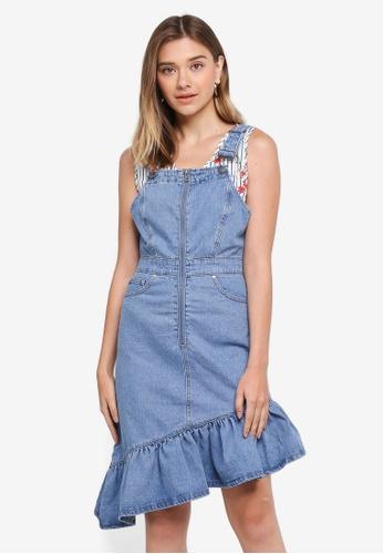 LOST INK blue Denim Ruffle Hem Dungaree Dress B8D99AA1691116GS_1