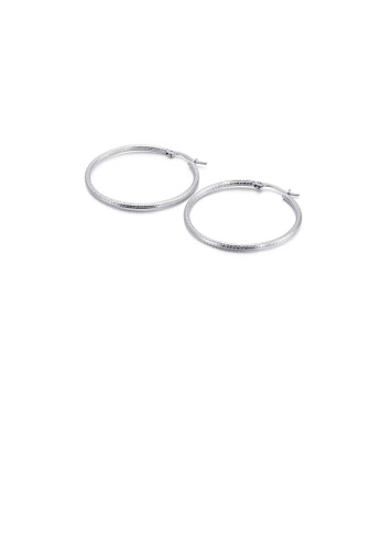 Glamorousky silver Simple Personality 40mm Geometric Circle 316L Stainless Steel Earrings D2A68ACB32F49BGS_1