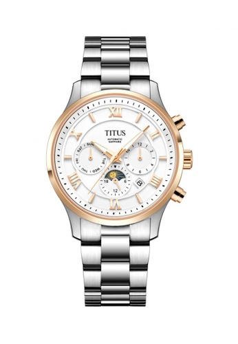 Solvil et Titus white and silver and gold Unisex Chronograph Automatic Watch in White Dial and Stainless Steel Bracelet C9A01AC4B58984GS_1