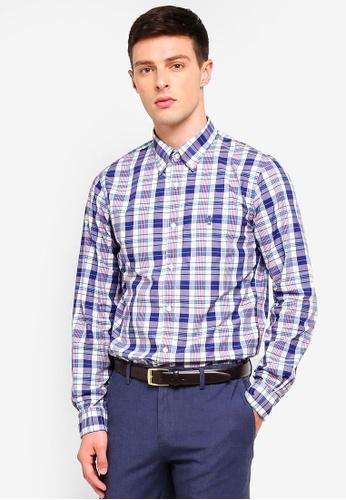 Brooks Brothers 藍色 長袖格紋襯衫 DB132AA4AF7DDBGS_1