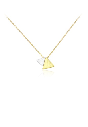 Glamorousky silver 925 Sterling Silver Plated Gold Simple Atmospheric Two-color Triangle Pendant with Necklace 874FDAC22EC916GS_1