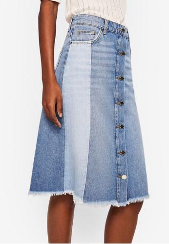 Mango blue Combined Design Denim Skirt F9082AA34E7347GS_1