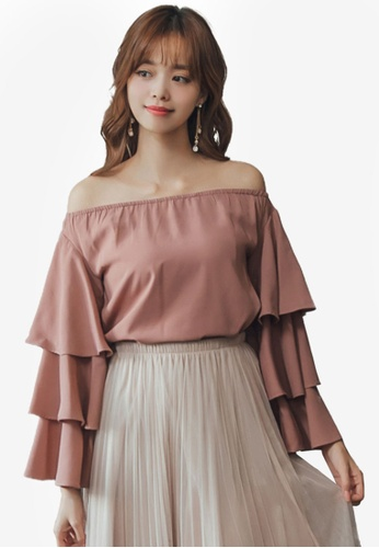 Yoco pink Off Shoulder Tiered Sleeve Blouse 8370EAA7C7BE00GS_1