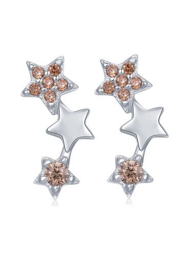 MBLife silver 925 Sterling Silver Champagne CZ Star Earrings 355E5AC6A1F02DGS_1
