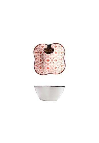 Table Matters multi Crisscross Red - Flower Shaped Saucer 4F736HL943593BGS_1