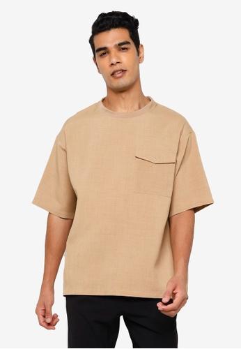 RAGEBLUE brown Casual Textured T-Shirt 51A7DAA2020976GS_1