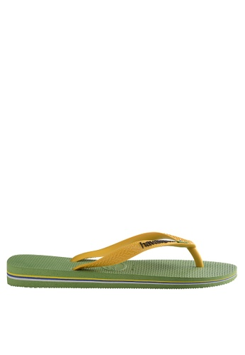 Havaianas green Brasil Logo Flip Flops 71BEESH8BC34E1GS_1