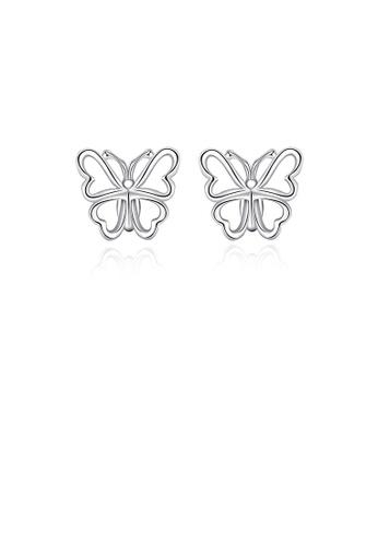 Glamorousky silver Simple Hollow Butterfly Stud Earrings 6D1B3AC580ED9DGS_1