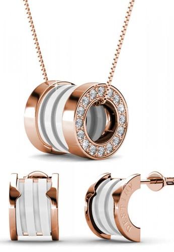 Her Jewellery white Swarovski® Crystals - Destiny Ceramic Set (White Gold) (18K Rose Gold Plated) Her Jewellery HE581AC0RVRKMY_1