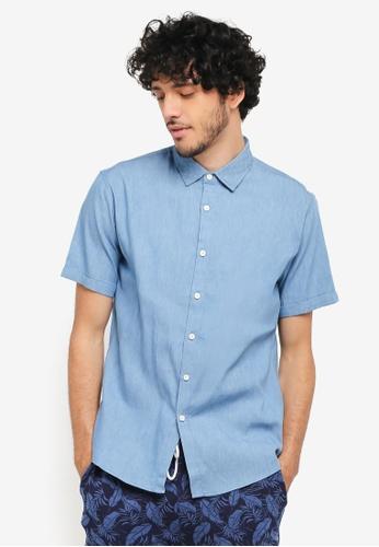 JAXON blue Mixed Fabric Short Sleeve Shirt 0624BAAADAB2C8GS_1