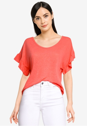 GAP orange Ruffle Short Sleeve Linen Tee F8217AABA28E0DGS_1
