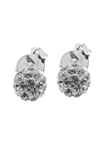 Elfi silver Elfi 925 Sterling Silver White Shamballa Earrings SE-3M EL186AC80MXJMY_1