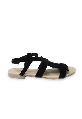 attagirl black Ladies Suede Touch Fringe Sandals AC585SH43DAMHK_1