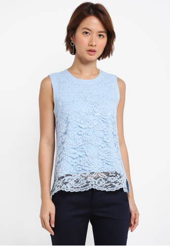 ZALORA blue Lace Top 86379AAD268ADEGS_1