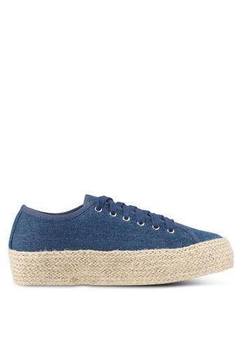 Something Borrowed navy Weaved Texture Sneakers 87B7FSH69C25EEGS_1