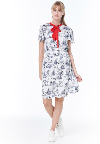 """United Colors of Benetton white Dress with """"Popeye"""" Print DE523AA87CCE49GS_1"""