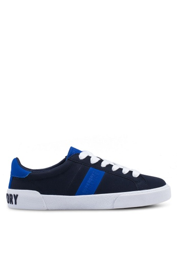 Superdry white and navy Vintage Court Trainers 663E1SH8EAECEDGS_1