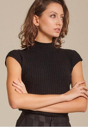 Dressing Paula black Pointelle-Knit Top 552B1AAE339E31GS_1