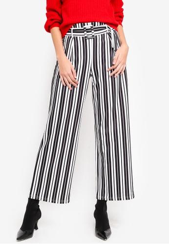 Miss Selfridge 黑色 Petite Black Strap Belted Trousers AB480AAB98AAFFGS_1