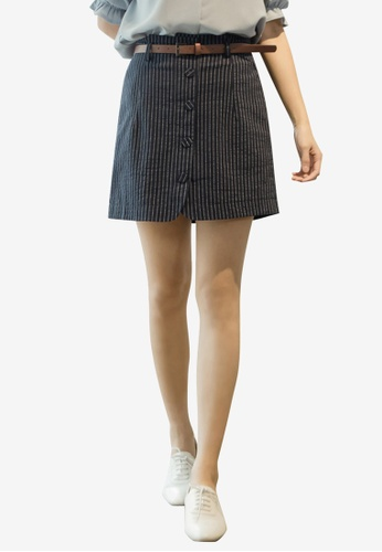 Tokichoi blue Striped Bottom Skirt 54292AA8AC4738GS_1