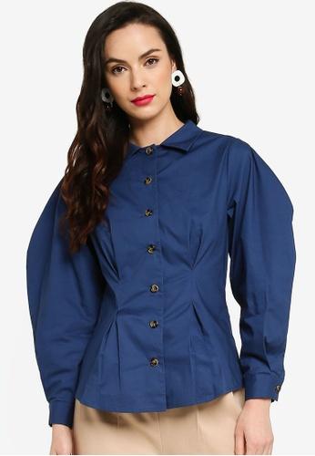 Zalia 海軍藍色 Cocoon Sleeve Detail Shirt D2E37AADED05E0GS_1