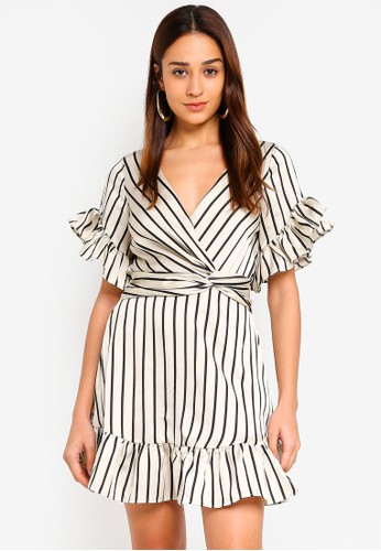 INDIKAH multi Striped Knotted Front Ruffle Trim Skater Dress BD58DAA4CCB3B7GS_1