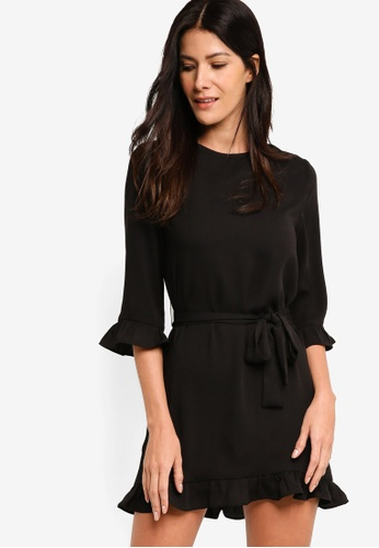 ZALORA black Gathered Hem Shift Dress BBF11AACB54185GS_1