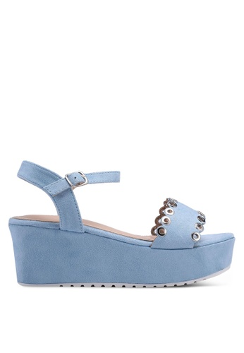 Nose blue Eyelet Wedge Sandals E0BE4SHA86D39FGS_1