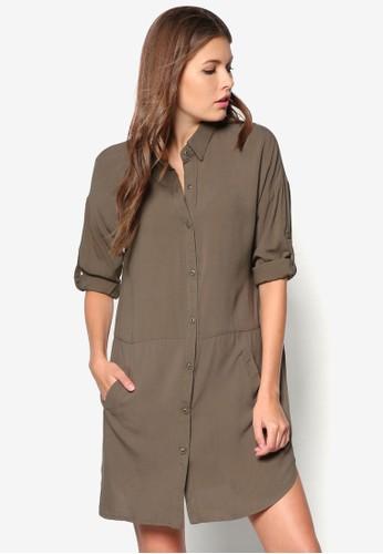襯衫式長袖連zalora 順豐身裙, 服飾, 洋裝