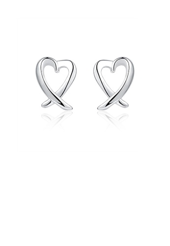 Glamorousky silver Simple Fashion Hollow Heart Stud Earrings 3539EAC666E904GS_1
