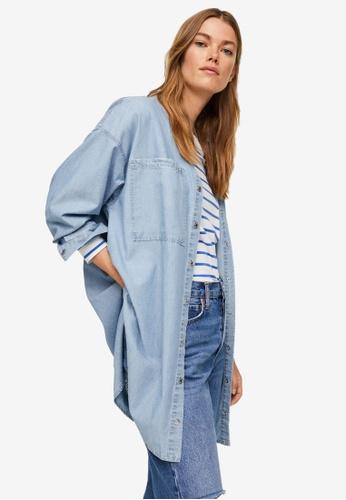 Mango 藍色 Pockets Denim Overshirt 27DA8AAE96BEC4GS_1