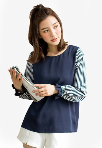 Tokichoi blue Striped Sleeves Contrast Blouse 3C52EAA46CA476GS_1