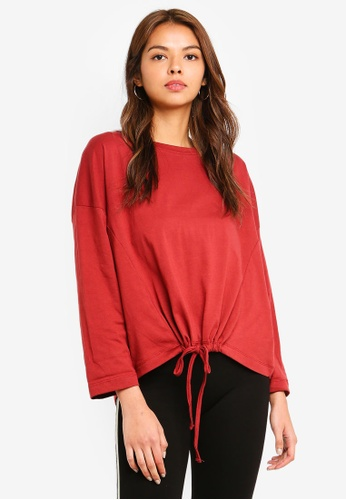 Cotton On red Joey Tie Hem Long Sleeve Top 70BE6AA5E99528GS_1
