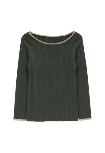 KLAPS green Boat Neck Slit Sweater F8790AA9C1404EGS_1