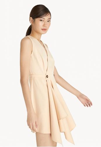 Pomelo beige Mini Side Draped Dress - Cream AE385AA0C823A9GS_1