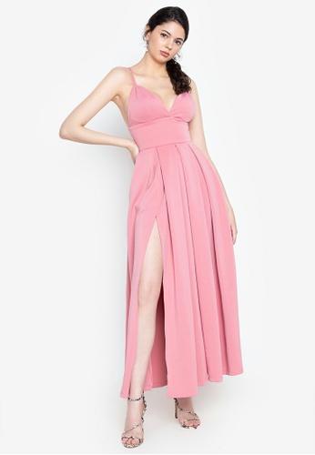 Heather Clothing pink Baby Doll High Slit Maxi Dress 9F6C0AAA43F5B1GS_1